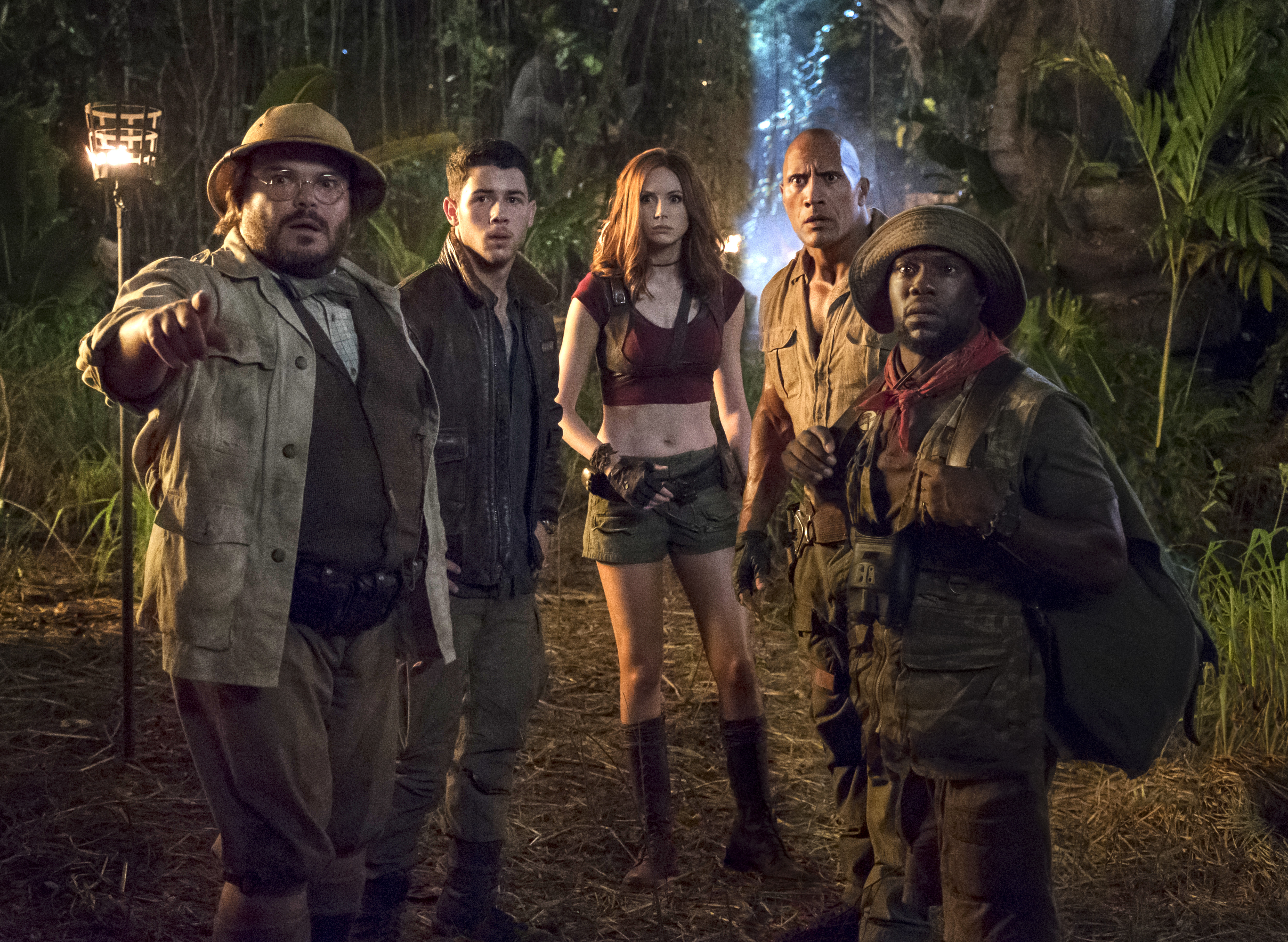 Jack Black, Nick Jonas, Karen Gillan, Dwayne Johnson and Kevin Hart star in JUMANJI: WELCOME TO THE JUNGLE.