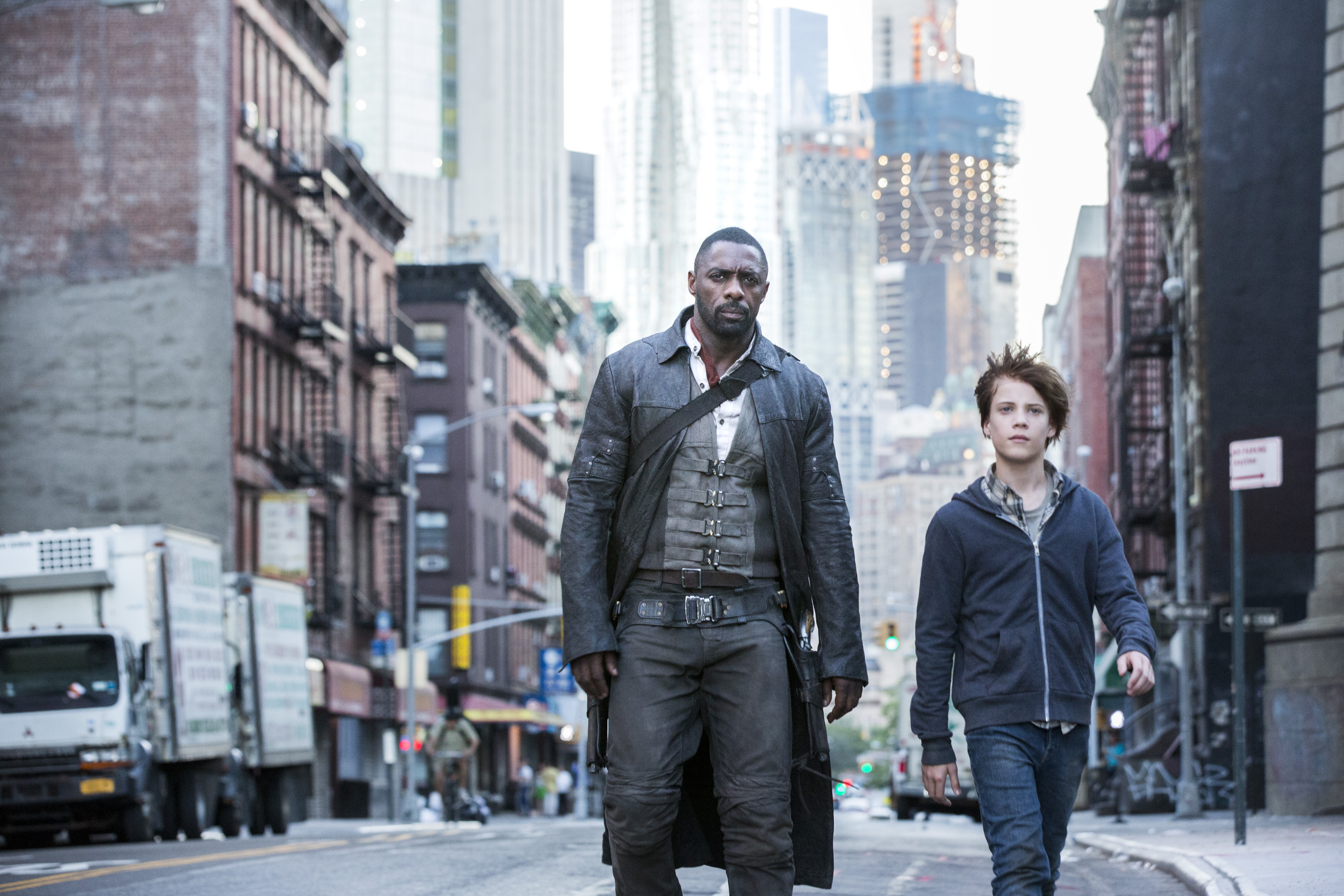 Roland (Idris Elba) and Jake (Tom Taylor) in  New York in Columbia Pictures' THE DARK TOWER.